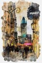 Sunset on Prague tyn church tower watercolor painting Royalty Free Stock Photo