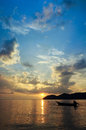 Sunset from pulau aman penang malaysia one evening beautiful and calm with reflection Stock Photo