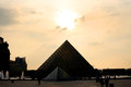 Sunset at Pyramid of the Louvre Royalty Free Stock Photo