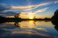 Sunset and Reflection in the Amazon Royalty Free Stock Photo
