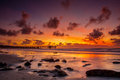 Sunset reflection colors reflected on beach at la jolla california Stock Photography