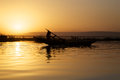 Sunset on the river niger local cruising in bamako with Royalty Free Stock Images