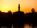 Sunset on the river nile over west bank of close to esna Stock Photography