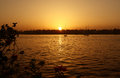 Sunset on the river nile ssun setting over egypt Stock Photography