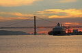 Sunset on river tejo lisbon portugal Stock Images