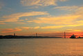Sunset on river tejo lisbon portugal Stock Image
