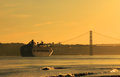 Sunset on river tejo lisbon portugal Royalty Free Stock Image