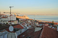 Sunset on river tejo lisbon portugal Stock Photo