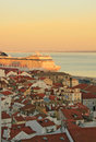 Sunset on river tejo lisbon portugal Royalty Free Stock Photos