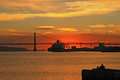 Sunset on river tejo lisbon portugal Stock Photography