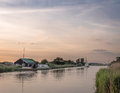 Sunset at The River Thurne Norfolk Royalty Free Stock Photo