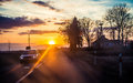 On a sunset road Royalty Free Stock Photo