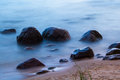 After the sunset rocky beach in tuja latvia Royalty Free Stock Photography