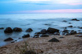 After the sunset rocky beach in tuja latvia Stock Images
