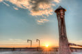 Sunset from a roof top with a roof vent in hdr Royalty Free Stock Photography