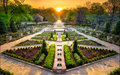 Sunset in the Rose Garden Royalty Free Stock Photo