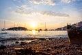 Sunset in Rovinj harbor Royalty Free Stock Photo