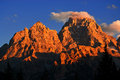 Sunset on rugged teton mountains detail of sunsent light from cascade canyon Royalty Free Stock Images