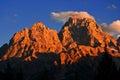 Sunset on Rugged Teton Mountains Royalty Free Stock Photo