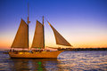 Sunset Sail Key West Florida Royalty Free Stock Photo