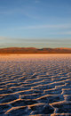 Sunset at salt flats Royalty Free Stock Photo