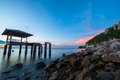 Sunset at sam muk bangsan beach chonburi Royalty Free Stock Photography