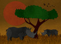 Sunset scene at africa safari made from recycled paper illustration of Stock Photography