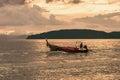 Sunset at sea, fishing boat Royalty Free Stock Photo