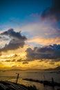 Sunset on sea hong kong Royalty Free Stock Photo