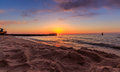 Sunset at the sea in niechorze poland wide angle photography Royalty Free Stock Photo