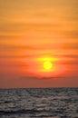 Sunset By The Sea Orange Sky.