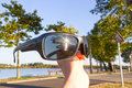 Sunset in the sea reflected in sunglasses in Landes Royalty Free Stock Photo