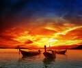 Sunset on sea in thailand Royalty Free Stock Images
