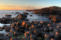 Sunset seascape at Giant Causeway Royalty Free Stock Photo