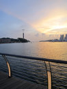 Sunset at sentosa beautiful the link bridge of singapore Stock Images
