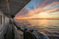 A ship in the sea at sunset. White Sea, Russia Royalty Free Stock Photo