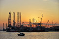 Sunset At A Shipyard Royalty Free Stock Photo