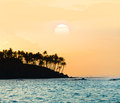 Sunset shore tropical island Royalty Free Stock Photo