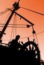 Sunset Silhouette del capitano Immagine Stock Libera da Diritti