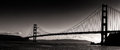 Sunset Silhouette  Panoramic View of the Golden Gate Bridge Royalty Free Stock Photo