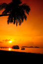 Sunset silhouette at redang island terengganu malaysia locally known as pulau or just is one of the largest islands off the east Stock Photos