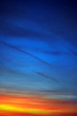 Sunset sky bright orange dark blue Royalty Free Stock Photos