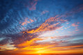 Sunset sky with multicolor clouds Royalty Free Stock Photo
