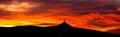 Sunset sky panorama with silhouette of Jested Mountain Ridge, Liberec, Czech Republic, Europe Royalty Free Stock Photo