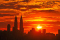 Sunset skyline of kuala lumpur city with petronas twin towers or kuala lumpur city centre klcc as part of the skyline Royalty Free Stock Photography