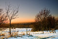 Sunset and snow at ashton under lyne Royalty Free Stock Images