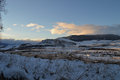 Sunset with snowed landscape chilean patagonia sector rio simpson coyhaique Stock Images