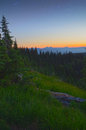 Sunset and stars olympic national park golden majestic mountains green meadows at dusk in the washington state usa Stock Photo