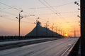 Sunset on the Stone bridge Akmens tilts in Riga Royalty Free Stock Photo