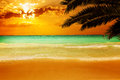 Sunset on a stunning Caribbean beach Royalty Free Stock Photo
